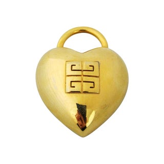 Vintage Givenchy Goldtone Heart Brooch For Sale