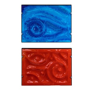 Abstract Glass and Resin Artworks by Zika - Set of 2 For Sale