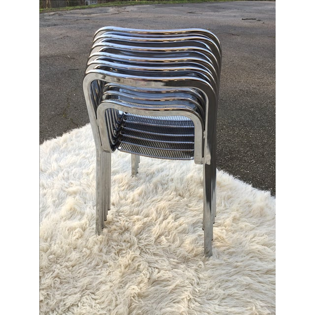 Vintage Chrome Stacking Chairs - 6 - Image 4 of 7