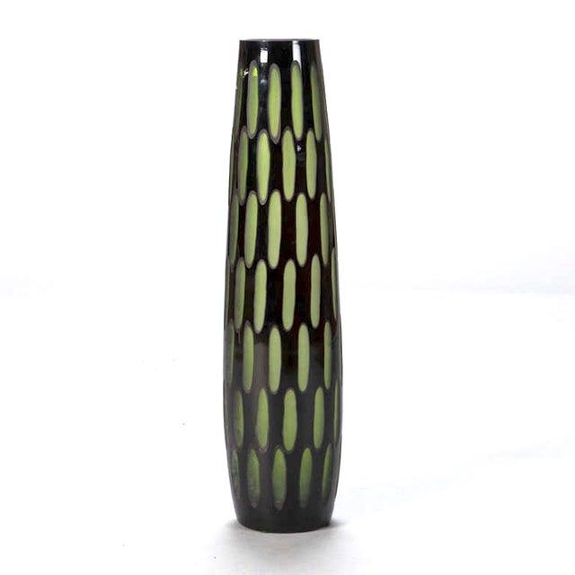 Mid-Century Black & Green Case Glass Vase - Image 5 of 6