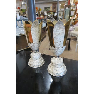 Vintage Mid Century Modern Art Deco Style Torchiere Flower Lamps, C 1950 - a Pair Preview