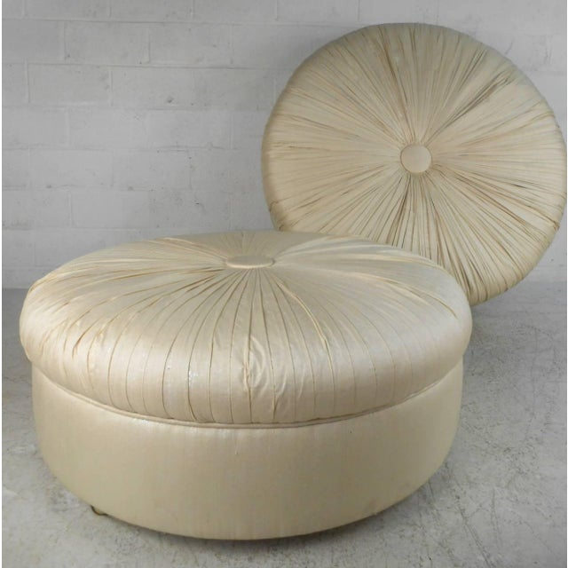 Mid-Century Modern Tufted Silk Ottomans- a Pair For Sale - Image 9 of 9