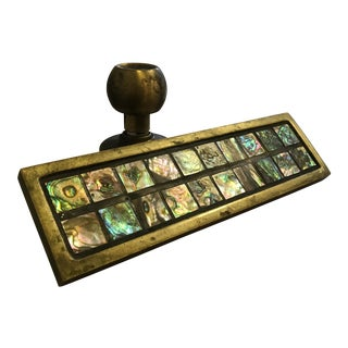 Mid-Century Brass & Abalone Door Pull For Sale
