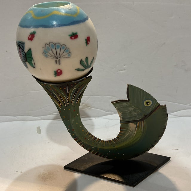 Robert Shields Folk Art Metal Fish Candle Holder For Sale - Image 12 of 13