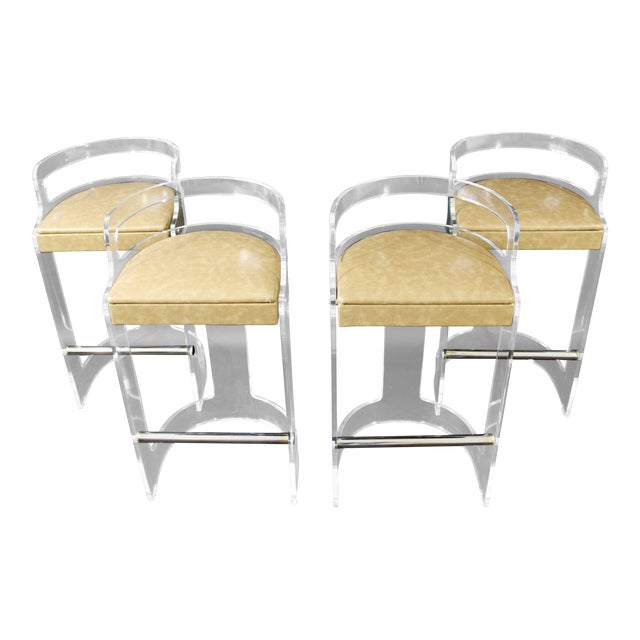 Mid-Century Modern Hill Lucite Chrome Beige Leather Bar Stools - Set of 4 For Sale