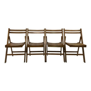 Vintage Wood Folding Chairs - Set of 4 For Sale