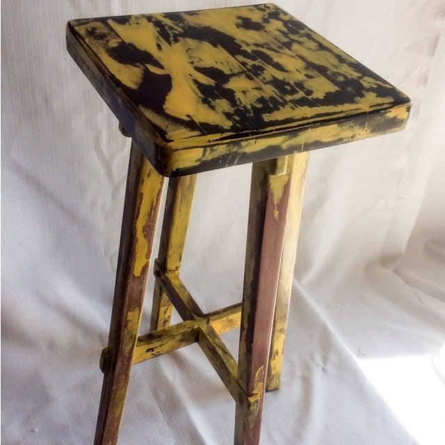 Yellow Distressed Cedro Macho Wood Bar Stool - Image 6 of 8