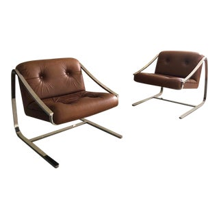 "Mid Century Modern Charles Gibilterra for Brueton ""Plaza"" Lounge Chairs- A Pair For Sale"