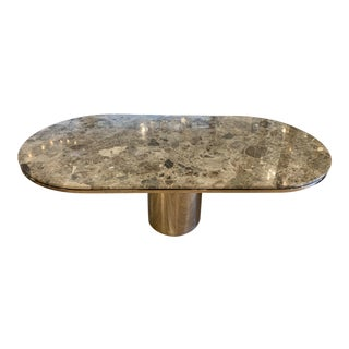 1980s Contemporary J Wade Beam for Brueton Marble Dining Table For Sale