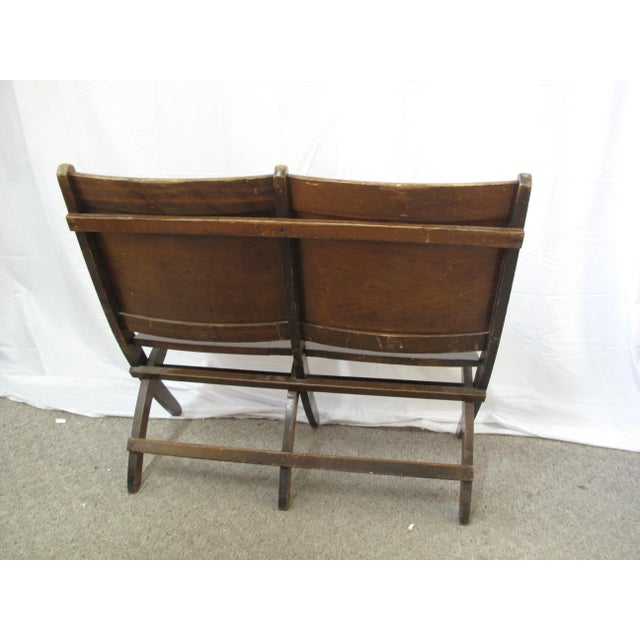 Wood Pre War Seven Island Club Cigars Folding Double Bench For Sale - Image 7 of 9