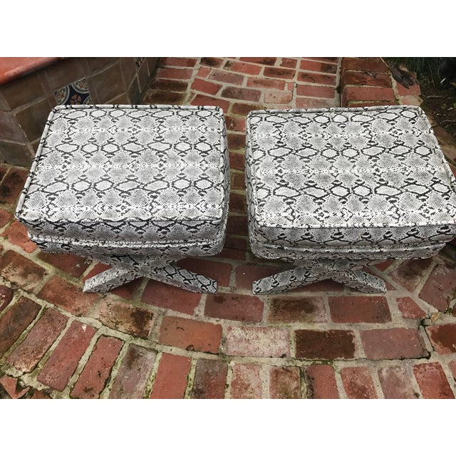 X-Frame Snake Skin Stools - A Pair - Image 4 of 7