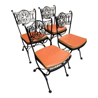 Vintage Mid Century Modern Woodard Wrought Iron Chairs- Set of 4 For Sale