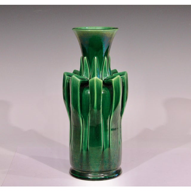 Arts & Crafts 1910s Awaji Pottery Organic Arts & Crafts Petal Handle Green Monochrome Vase For Sale - Image 3 of 12