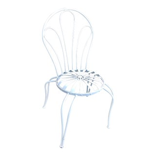 1930s Vintage Francois Carre White Sunburst Iron Garden Chair For Sale