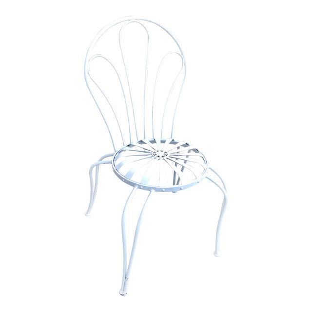 1930s Vintage Francois Carre White Sunburst Iron Garden Chair For Sale