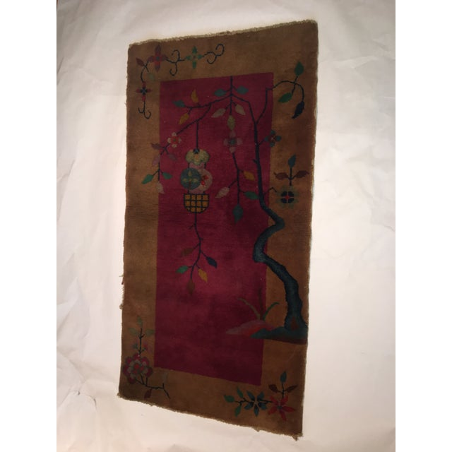 """Textile Gold & Red Vintage Chinese Wool Rug - 2' x 3'10"""" For Sale - Image 7 of 11"""