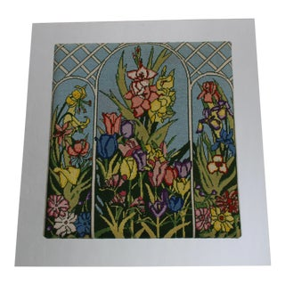 Vintage 1970's Vibrant Colors Flowers in Stained Glass Window Needlepoint Wall Art Acrylic Mirror Frame For Sale