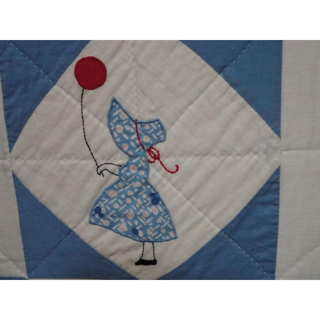 Folky Mounted Red/White/Blue Sunbonnet Sue Crib Quilt with Balloon For Sale In Los Angeles - Image 6 of 7