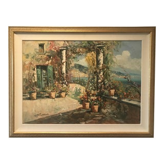 Italian Coast, Signed Oil Painting on Canvas For Sale