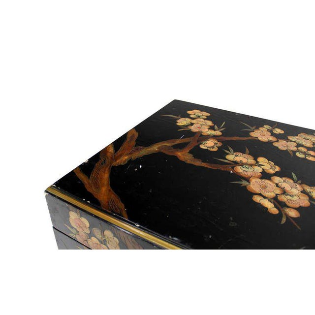Vintage Mid Century Oriental Hand Painted Black Lacquer Bar Chest For Sale - Image 6 of 10