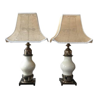Pair, Mid Century Signed Stiffel Lamps, With Wicker Pagoda Shades