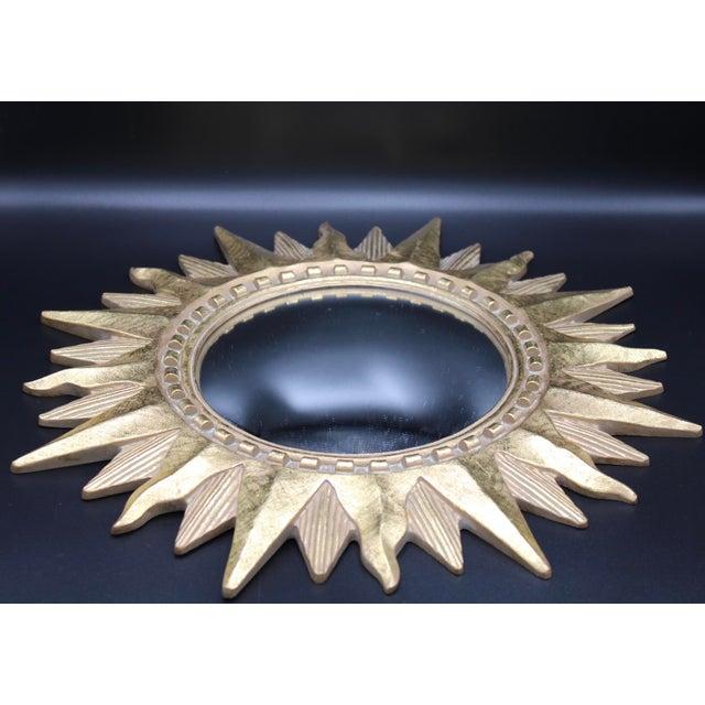 Hollywood Regency Vintage Golden Gilt Convex Sunburst Mirror For Sale - Image 3 of 11