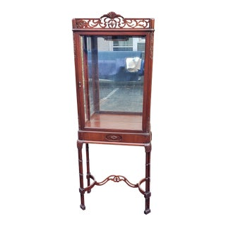 Early 20th Century Antique American Carved Mahogany Vitrine For Sale