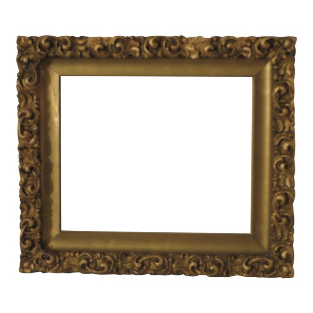 Antique Wood Gesso Gold Gild Picture Frame for Painting or Mirror For Sale