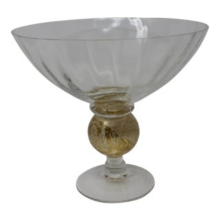 Gold and Clear Glass Hand Formed Candy Dish For Sale