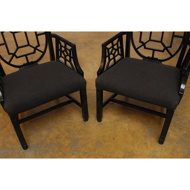 Black Lacquer Chinese Chippendale Armchair - Pair - Image 3 of 7