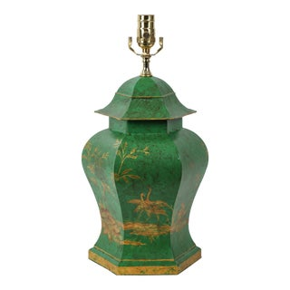 Vintage Chinoiserie Hand-Painted Green Tole Temple Jar Table Lamp With Gold For Sale