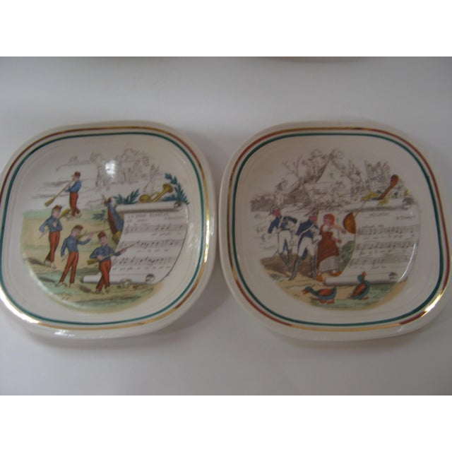 A fabulous vintage set of 6 perfect French opera plates with different scenes and scores on each plate. Whimsical...