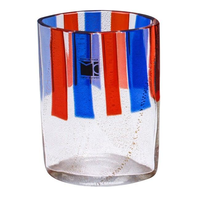 Carlo Moretti Murano Aventurine Glass Vase For Sale