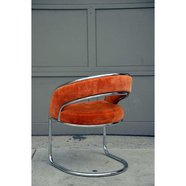 Unique 70's Orange Velvet and Chrome Armchair For Sale In Los Angeles - Image 6 of 8