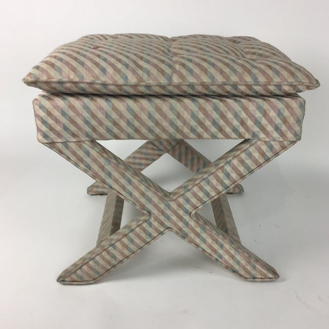 Fabric 1970s Vintage Upholstered X Stool For Sale - Image 7 of 7
