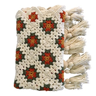 Vintage Hand Knitted Afghan Throw Blanket For Sale