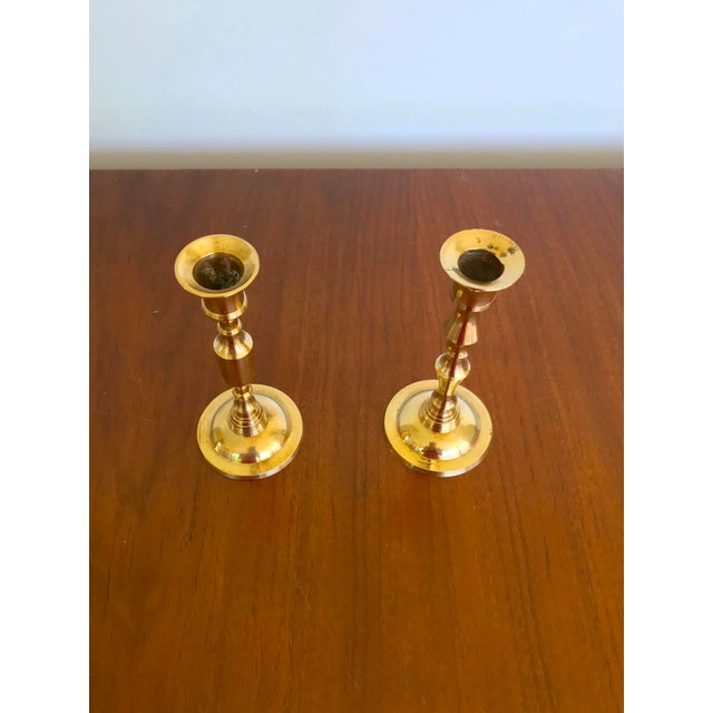 Mid 20th Century Vintage Mid-Century Brass Candlesticks - a Pair For Sale - Image 5 of 9