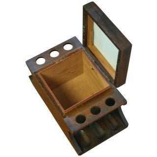 Vintage Pipe Holder with Tobacco Humidor For Sale