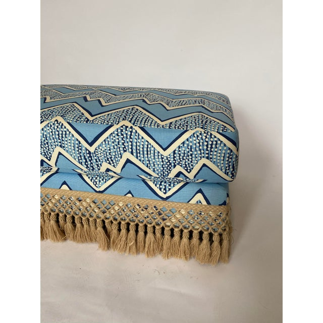 1960s Modern Ottoman With Samuel and Sons Fringe For Sale - Image 5 of 7