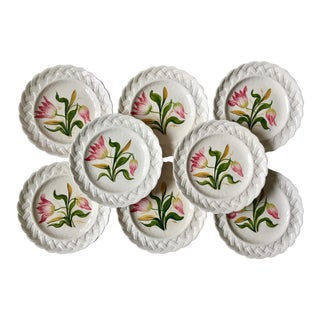 Italian Faience Hand-Painted Tulip Plates-Set 8 For Sale