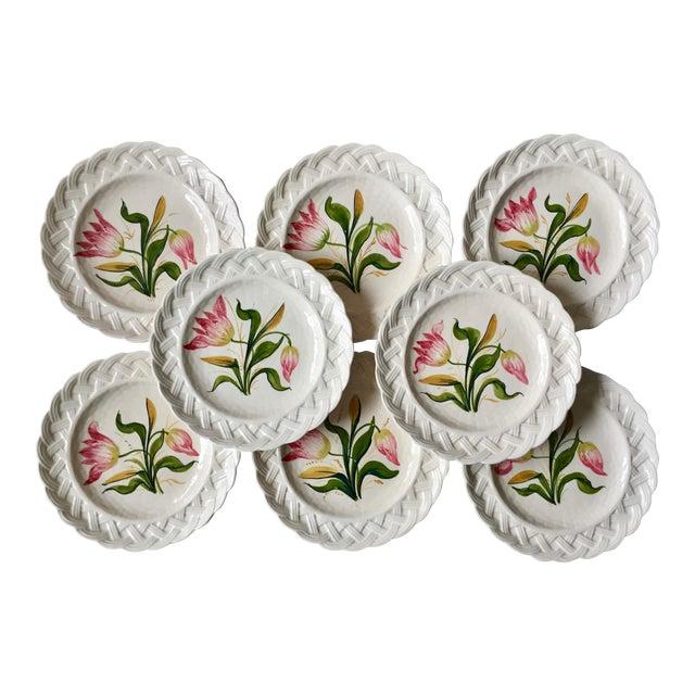 Italian Faience Hand-Painted Tulip Plates-Set 8 For Sale