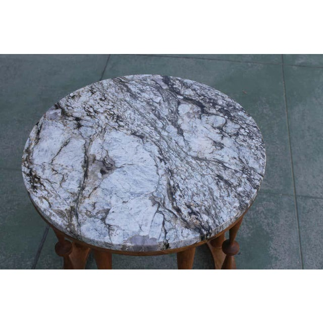 1960s Midcentury Spindle Table With Marble Top For Sale In Palm Springs - Image 6 of 8
