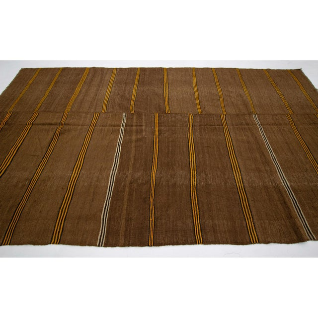 Contemporary 1960s Vintage Striped Brown Kilim Rug- 6′2″ × 10′7″ For Sale - Image 3 of 7