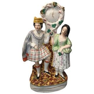 19th Century Antique Staffordshire Flatback Figure of Scottish Clock Couple For Sale