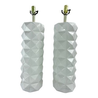 Large White Ceramic Quilted Pattern Lamps - a Pair For Sale