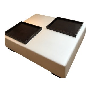 Modern Holly Hunt Christian Liaigre Galet Leather Ottoman For Sale