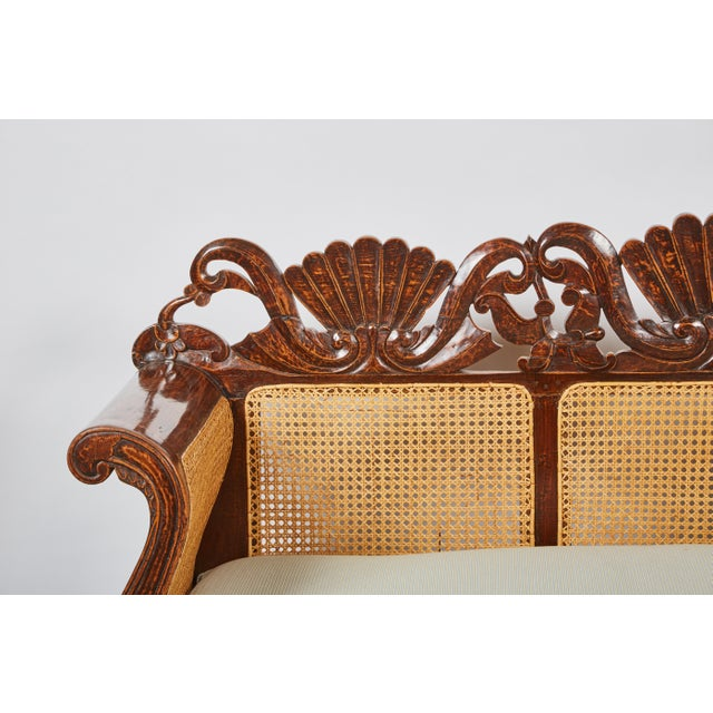 Indonesian Mahogany Settee with Carved Rattan/Wicker Back and Seat - Image 3 of 9