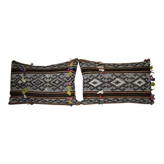 African Mudcloth Kilim Pillow Cover, Unique Set of Two Goat Hair Cushions 16'' X 24'' (40 X 60 Cm) For Sale