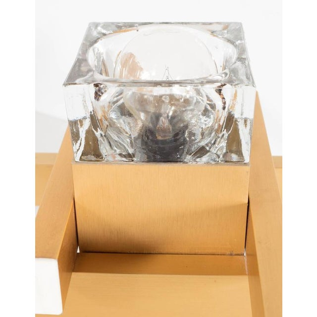 Gold Mid-Century Modernist Flush Mount Brass and Cubed Glass Fixture by Sciolari For Sale - Image 8 of 9