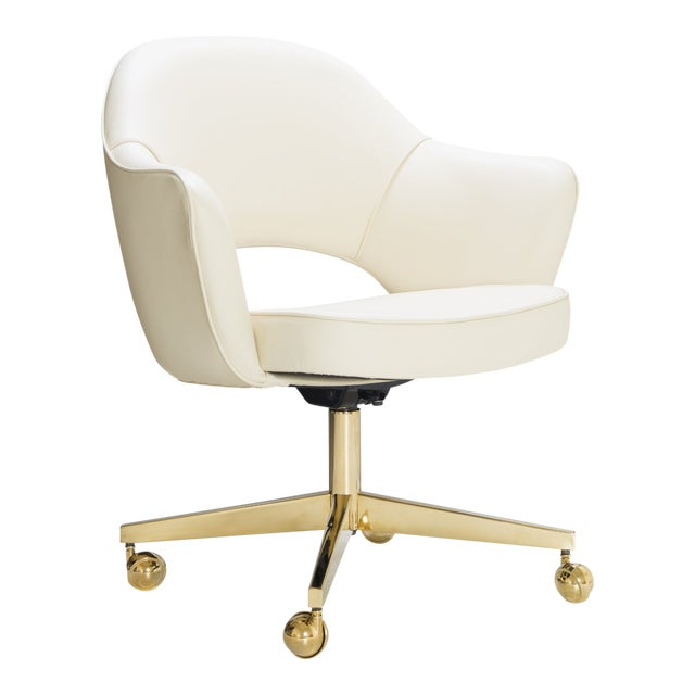 Saarinen Executive Arm Chairs in Crème Leather, Swivel Base, 24k Gold Edition For Sale